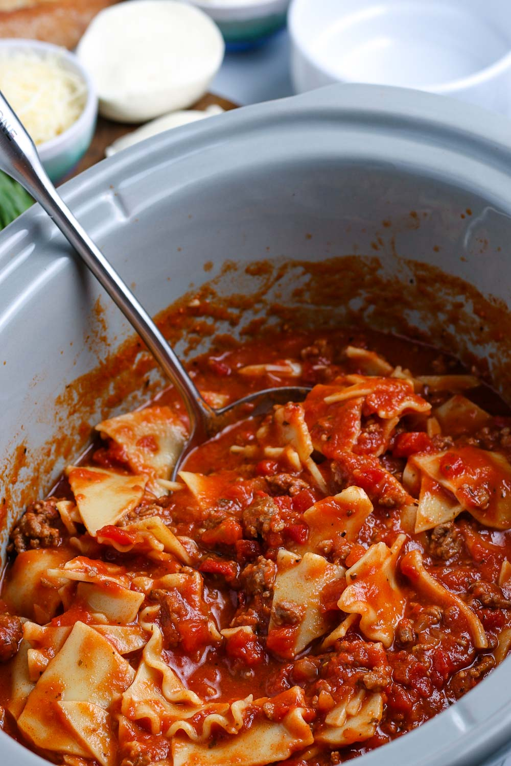 The finished Crockpot Lasagna Soup in the slow cooker.