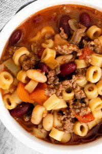 An up close, overhead picture of the finished Olive Garden Pasta e Fagioli Soup Copycat.