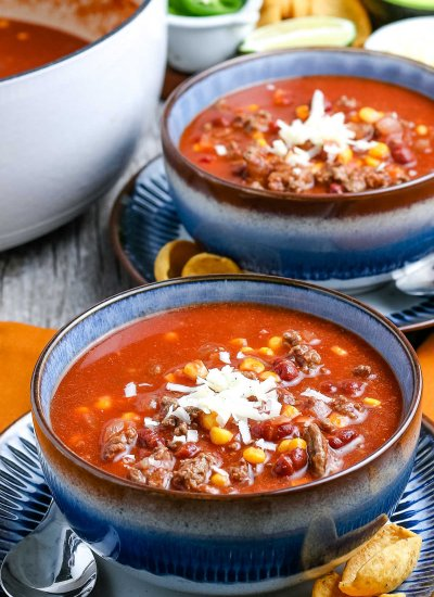Two bowls of Taco Soup.