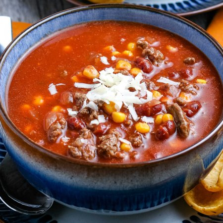 A close up picture of the finished Taco Soup recipe.