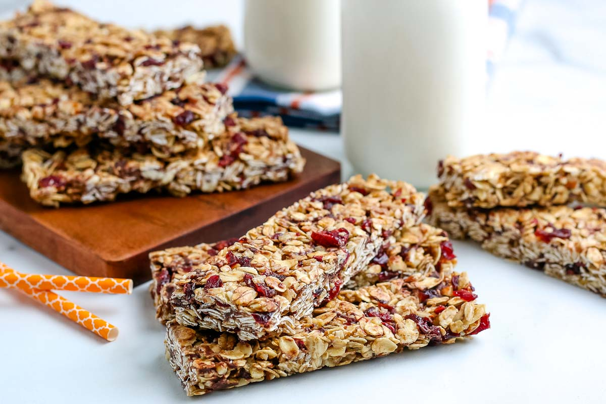 Homemade Granola Bars stacked on top of each other.