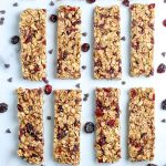 An overhead picture of cut up Homemade Granola Bars.