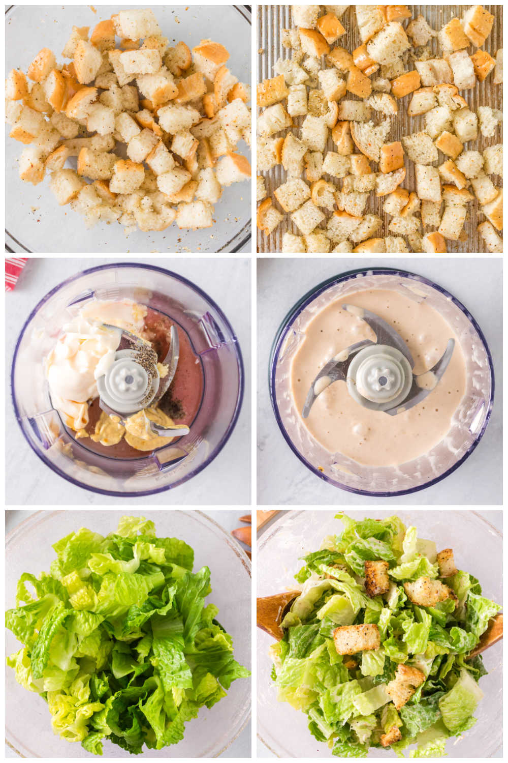 A picture collage of how to make Caesar Salad.