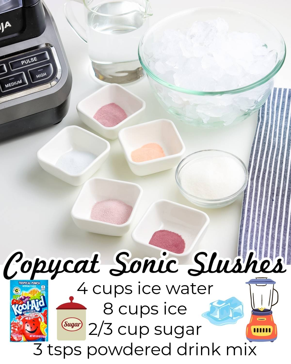 All of the ingredients needed to make this Copycat Sonic Slushes recipe.