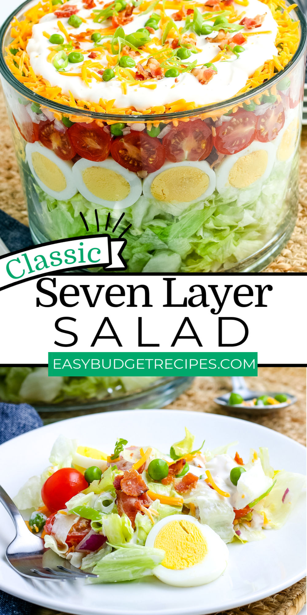 Seven Layer Salad is a delicious, crunchy, bright salad recipe that's great for potlucks, BBQs, and even holidays like Thanksgiving.  via @easybudgetrecipes