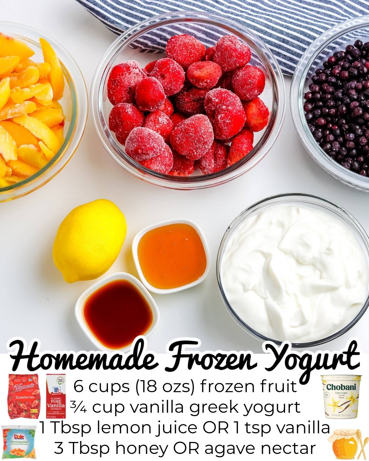 All of the ingredients needed to make this Homemade Frozen Yogurt recipe.