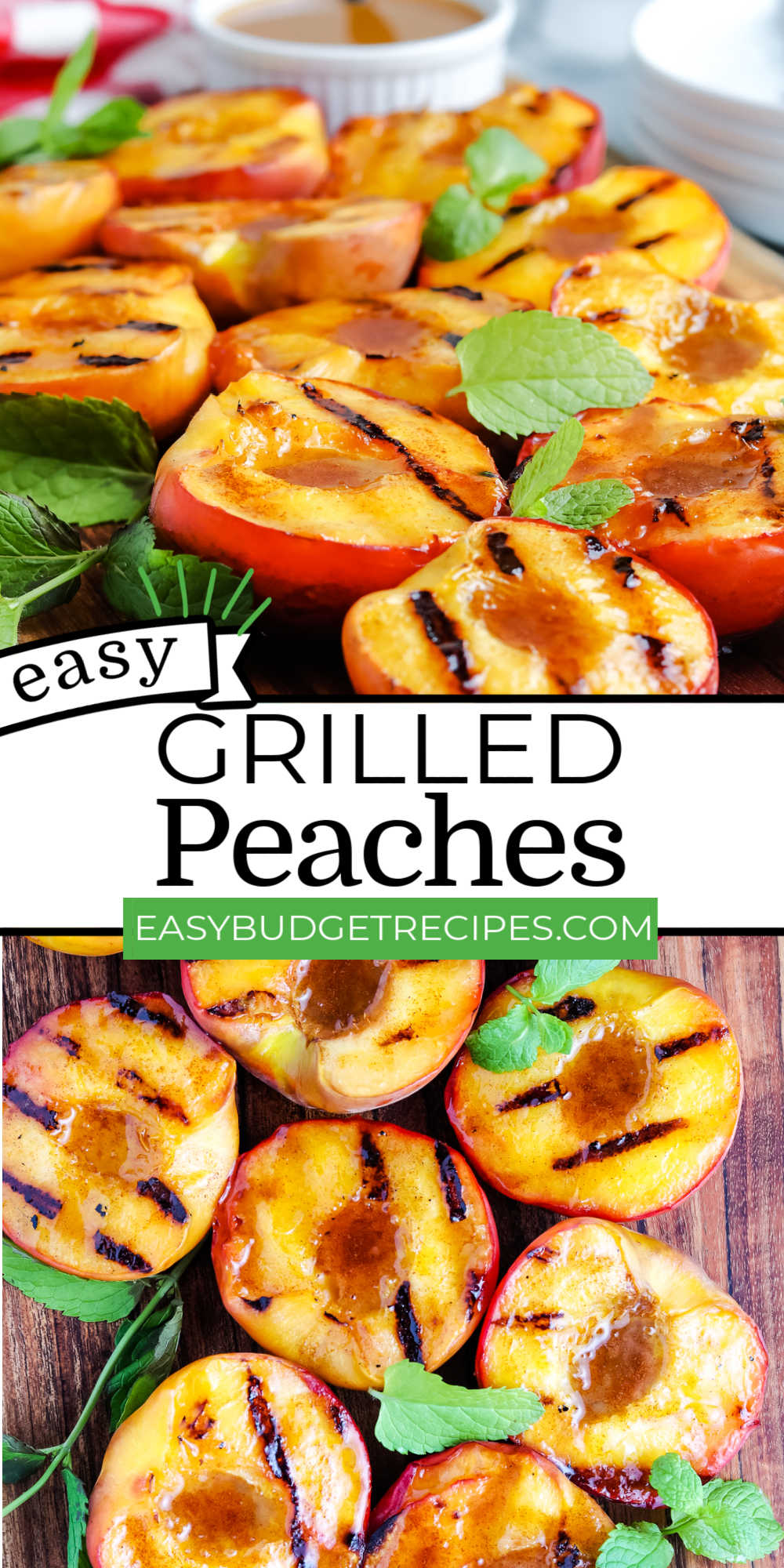 These Grilled Peaches are easy to make and delicious on their own or served with a scoop of vanilla ice cream and caramel sauce. via @easybudgetrecipes