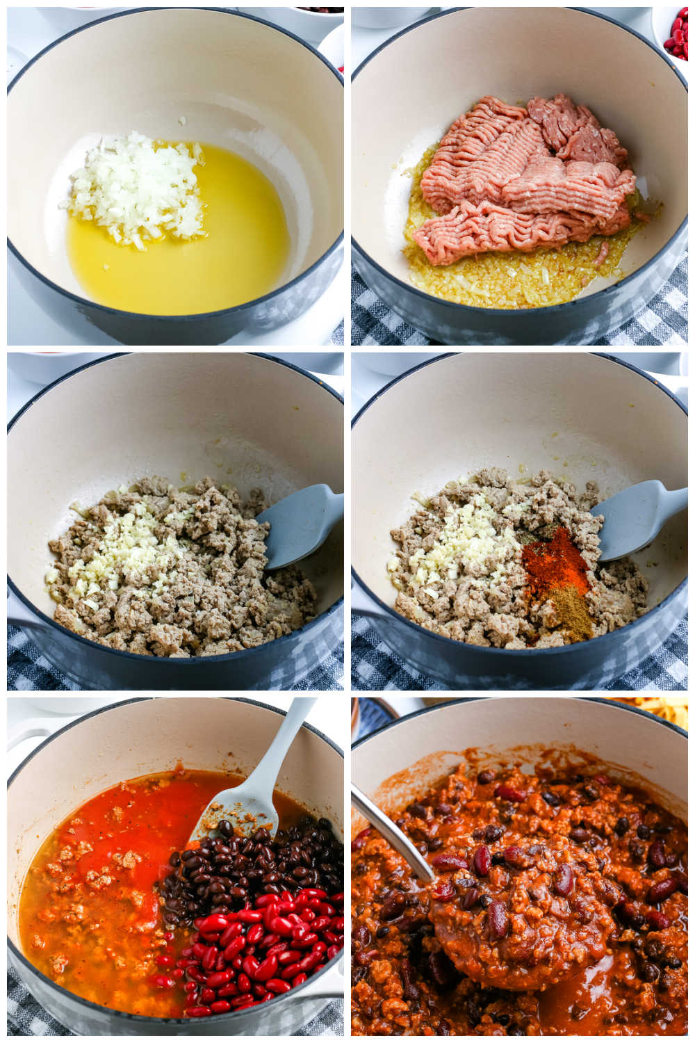 A picture collage of how to make this Ground Turkey Chili recipe.