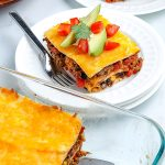 Mexican Lasagna on a white plate.
