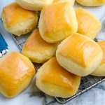 The finished Copycat Texas Roadhouse Rolls after they've ben brushed with melted butter.