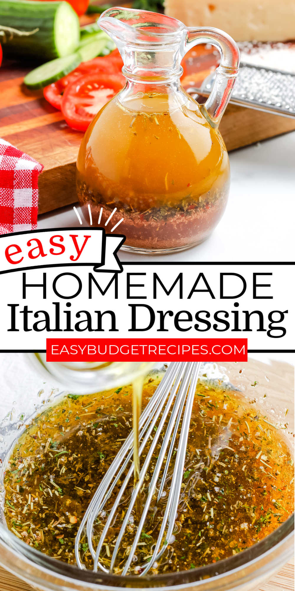 This easy Homemade Zesty Italian Dressing recipe is packed with seasonings and so much flavor. You'll never go back to bottled dressing again! via @easybudgetrecipes