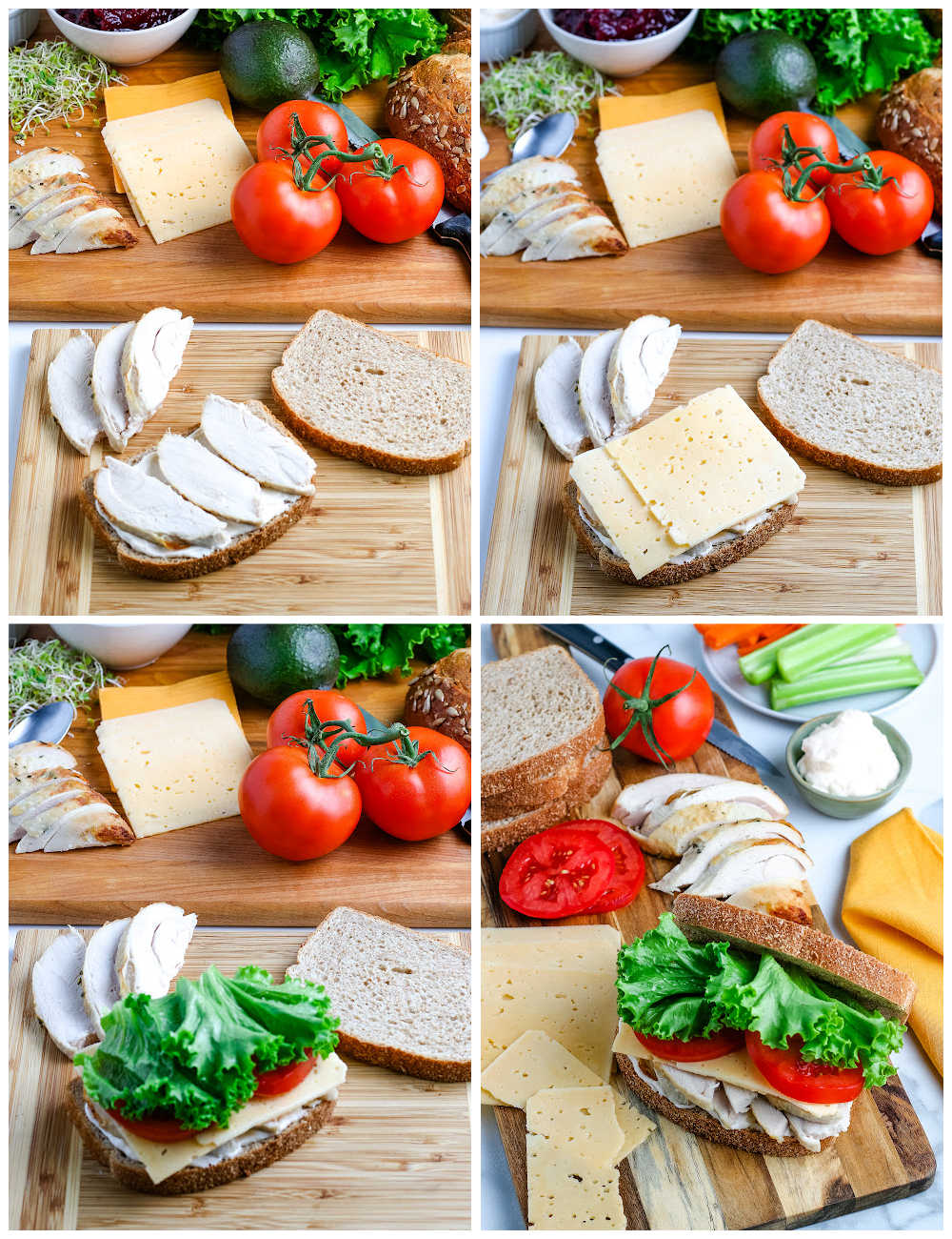 A picture collage of how to make a Leftover Turkey Sandwich.
