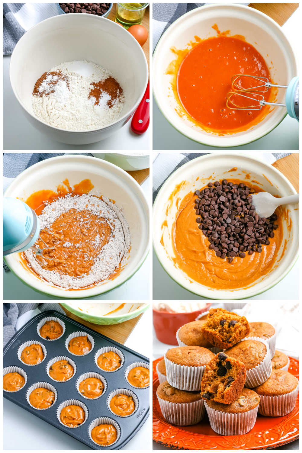 A picture collage of how to make this pumpkin muffin recipe.