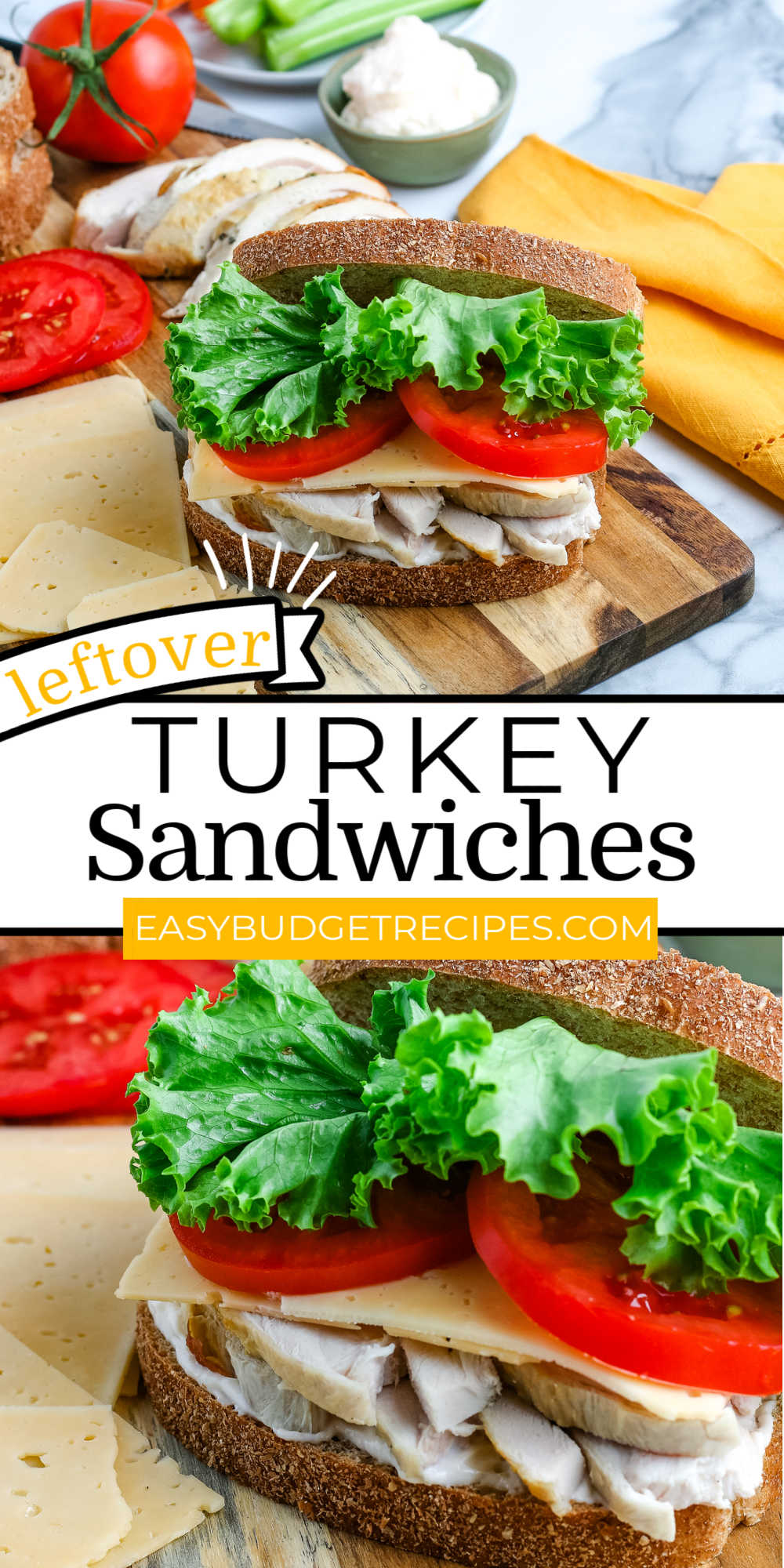 Leftover Turkey Sandwiches are a Thanksgiving staple! They're perfect for lunch the next day and can be made to fit anyone's tastes.  via @easybudgetrecipes