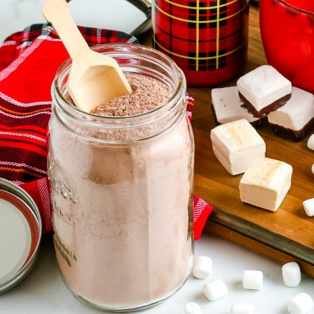 The finished Homemade Hot Chocolate Mix in a glass canning jar.