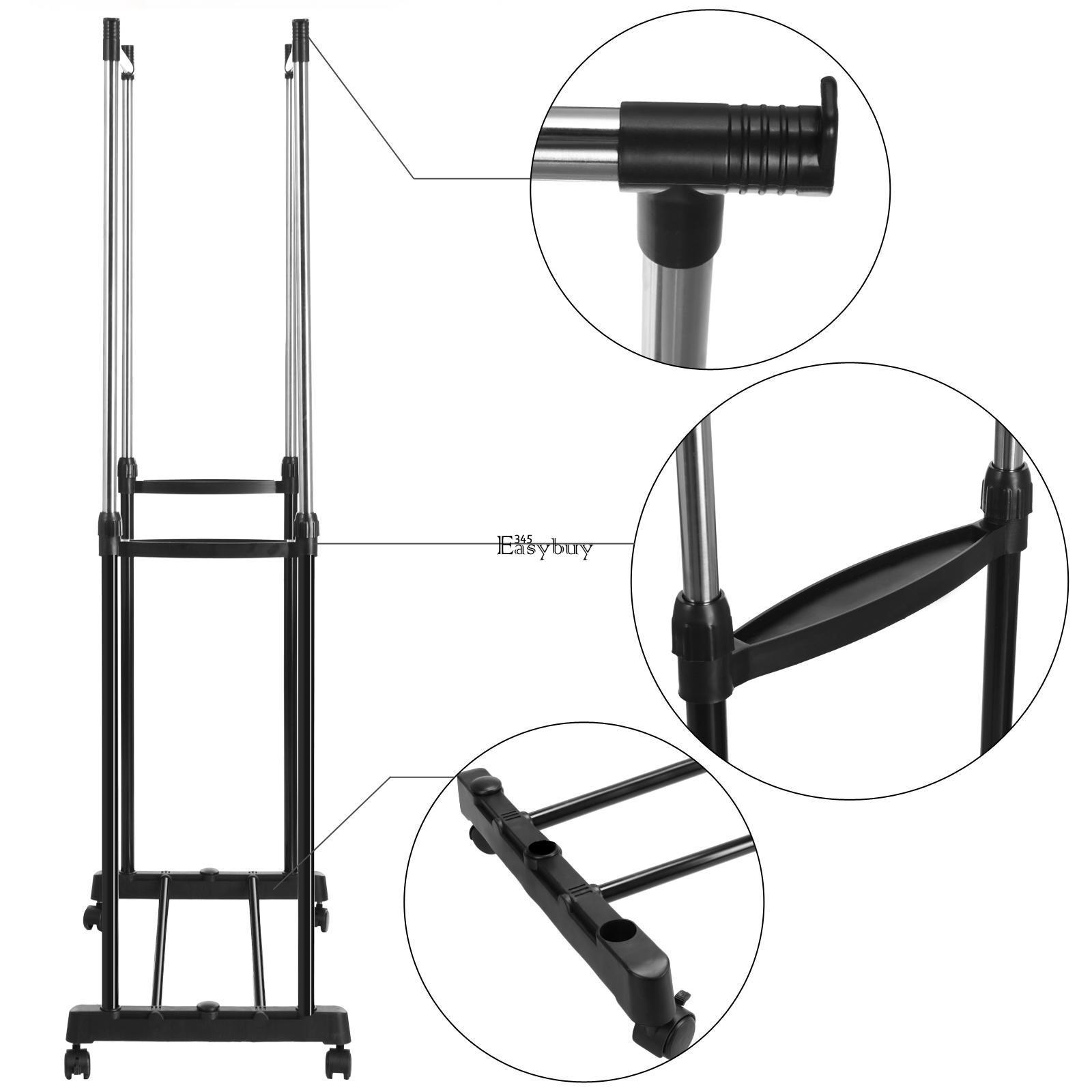 Portable Double Rolling Rail Adjustable Clothes Garment