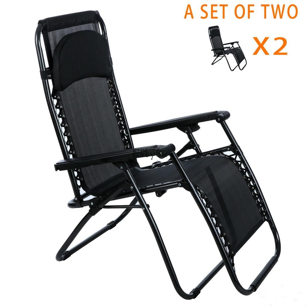 Oversized Patio Chairs 2pcs Folding Adjustable Oversized Zero Gravity Outdoor
