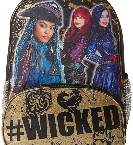 This Disney Descendants 2 backpack comes with a zipper front pocket and two mesh side pockets.