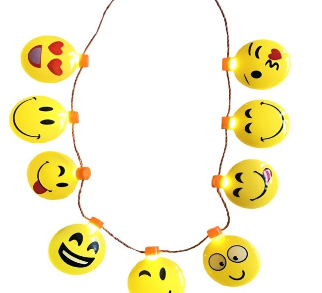This emoji necklace has nine emojis that light up. It is 16 inches long. Kids will love it!