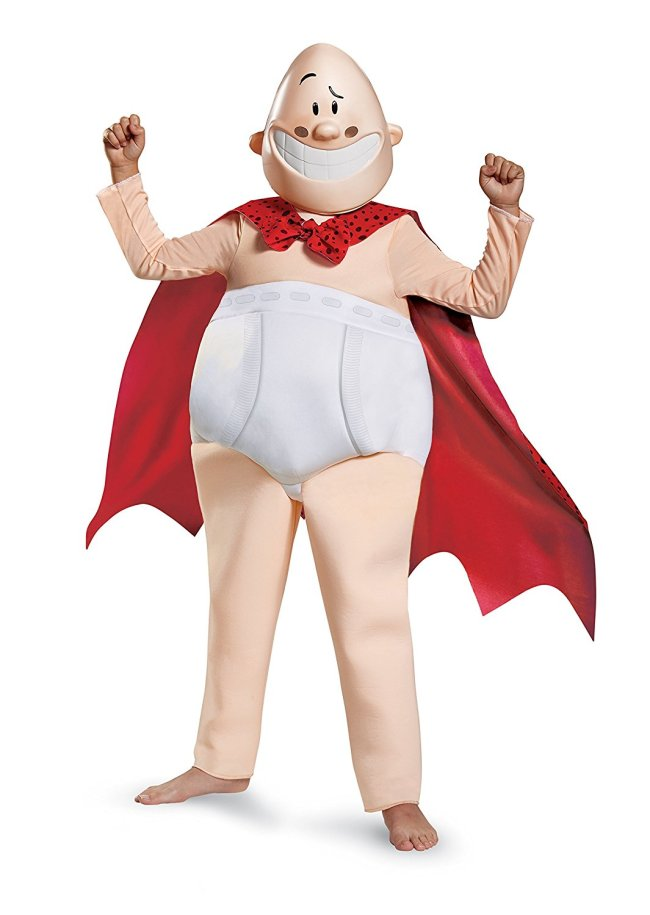 Captain Underpants costume for kids comes in different size and is a one piece jumpsuit and mask