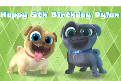 Disney's Puppy Dog Pals Edible Cake Topper can be personalized