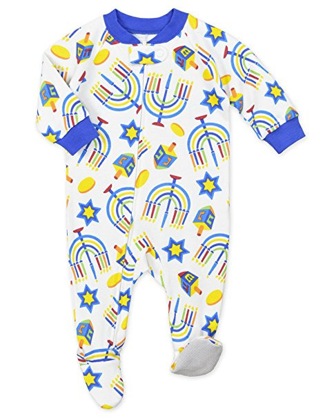 Hanukkah footed pajamas for infants and kids and adults