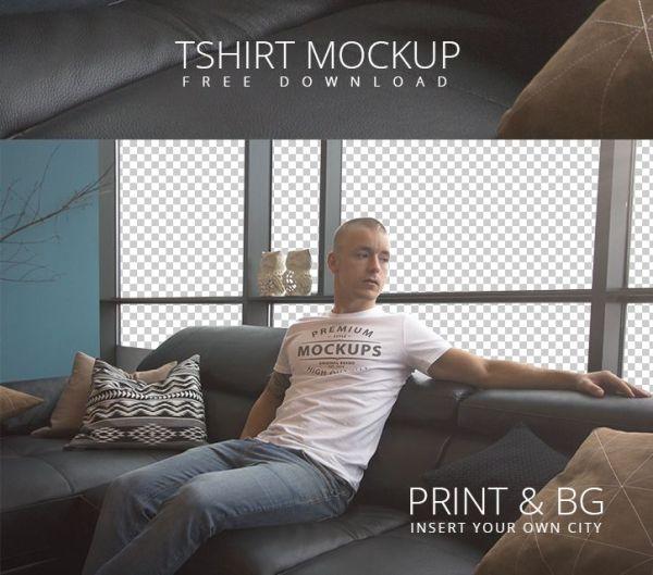 Aarhus t shirt template mockup free