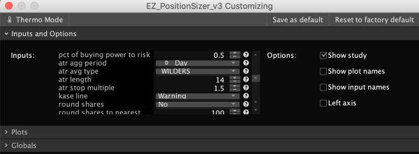 Thinkorswim Position Sizer - Settings 3