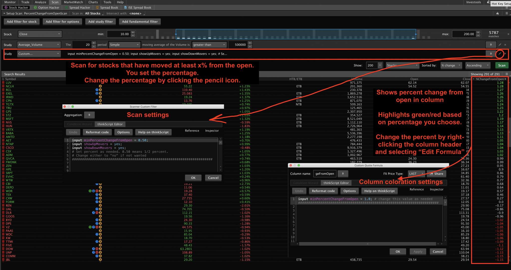 Percent Change From Open Indicator, Scan & Column for ThinkOrSwim