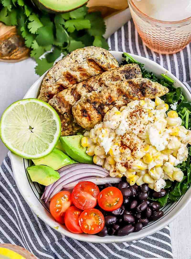 Mexican Street Corn Grilled Chicken Salad in a bowl