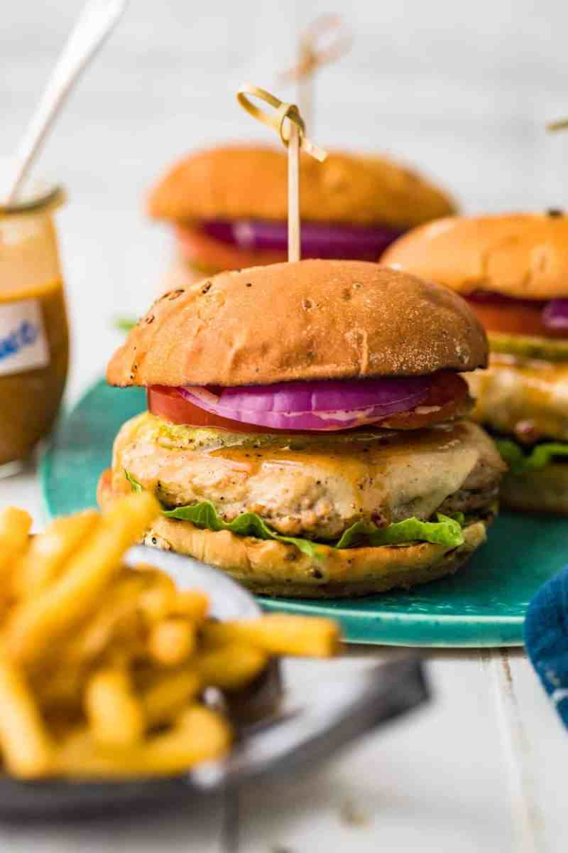 A juicy chicken burger with melted cheese