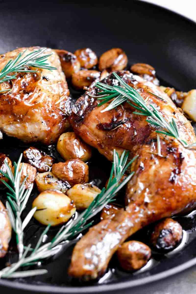 Chicken with 40 Cloves Garlic with fresh rosemary