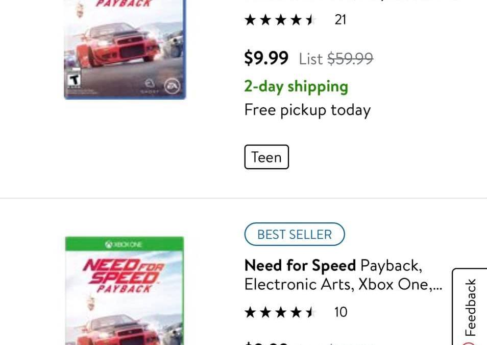 Walmart : $9.99 – Need for Speed Payback