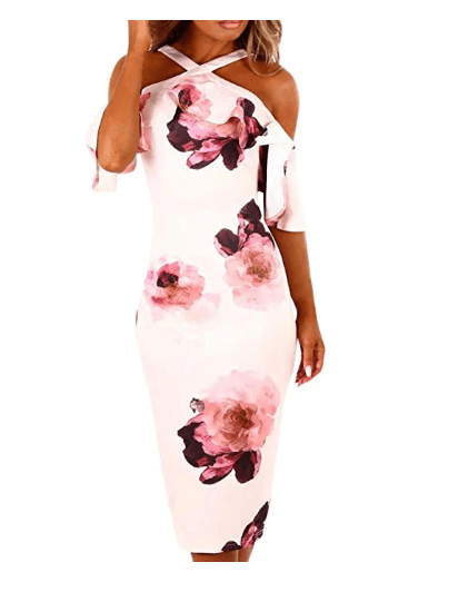 Amazon: Women Dress JJLOVER Floral Print Cross Strappy Bodycon Dress Cold Shoulder Lace Short Sleeve Sexy Party Wrap Dress – $10.56