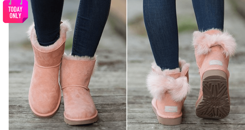 Zulilly: Suntan Fluff Bow Suede Boot – Women – $64.99
