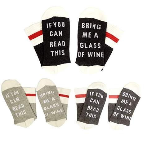 Amazon: IF YOU CAN READ THIS Fun Wine Socks, HSELL Women Cotton Crew Party Socks 3 Pack,Multicoloured,5-11 – $4.99