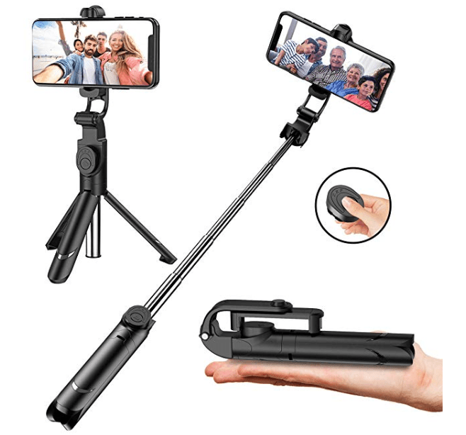 Amazon: Selfie Stick with Tripod Stand and Remote Control, Extendable 7.3-27 inch Selfie Stick for iPhone X/iPhone 8/8Plus/iPhone 7/7Plus/Galaxy Note8/S8/Plus/S9/plus,Huawei,More,360° Clamp/225° Neck Rotation – $6.99
