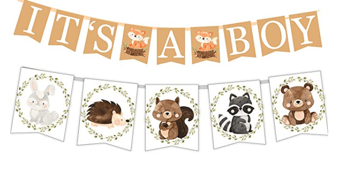 Amazon Woodland Creatures Its A Boy Banner For Baby Shower Fox Raccoon Rabbit Bear Squirrel And Porcupine Animals Themed Decorations 1 80 Easy Couponing With Theresa