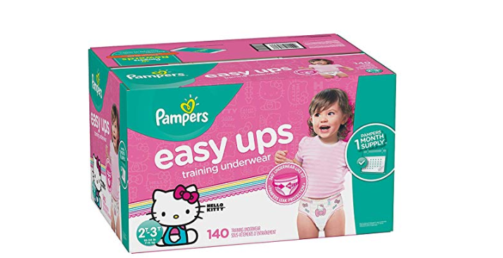 Amazon: Pampers Easy Ups Training Pants Pull On Disposable Diapers for Girls, 2T-3T, 140 Count – $17.31