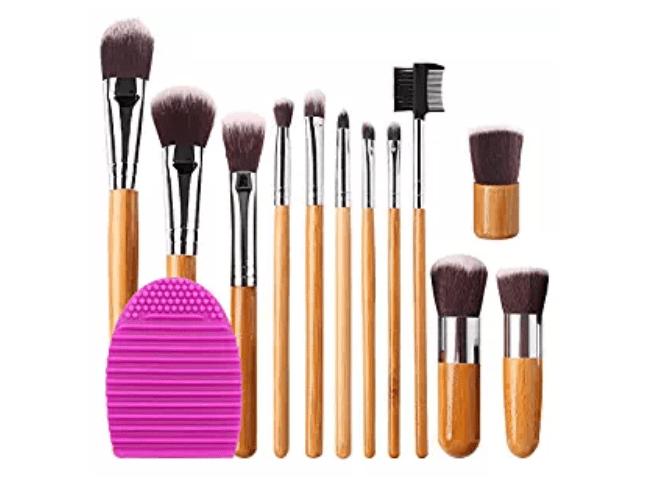 Amazon: BEAKEY 12+2 Pcs Makeup Brush Set, Premium Bamboo Handle Synthetic Bristles, Kabuki Foundation Eyeshadow Concealer Powder Brush Kit – $4.39