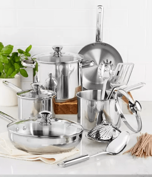 Macy's: Stainless Steel 13-Pc. Cookware Set – $29.99