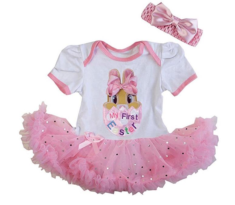 Amazon: Kirei Sui Baby First Easter Bunny White Pink Bodysuit Tutu & Headband – $3.99