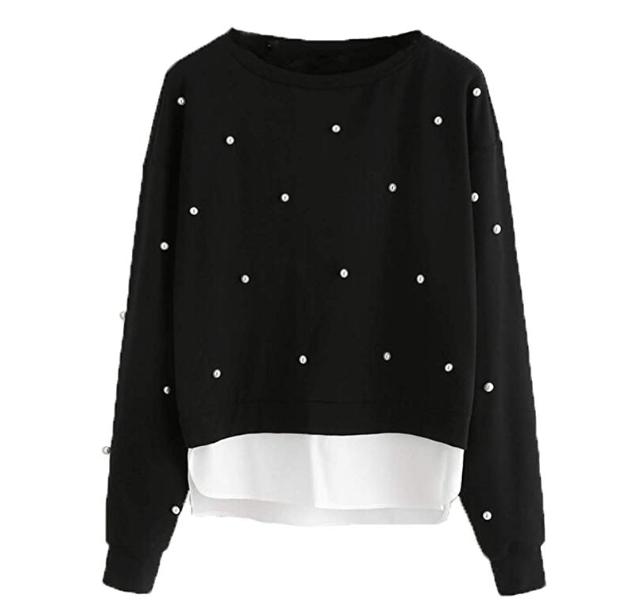 Amazon: ROMWE Women's Long Sleeve Colorblock Pearls Asymmetrical Cotton Sweatshirt – $7.08