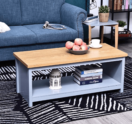 Amazon: HOMCOM Rustic Style Coffee Table with an Underneath Storage Shelf – $39.99