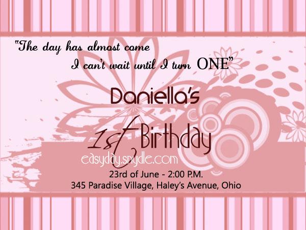 1st Birthday Invitation Wording Easyday