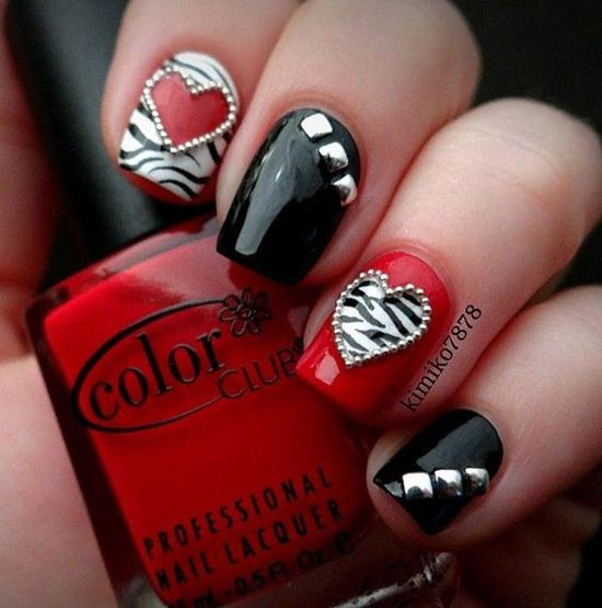 Simply Romantic and Sweet Nail Arts for Valentines Day