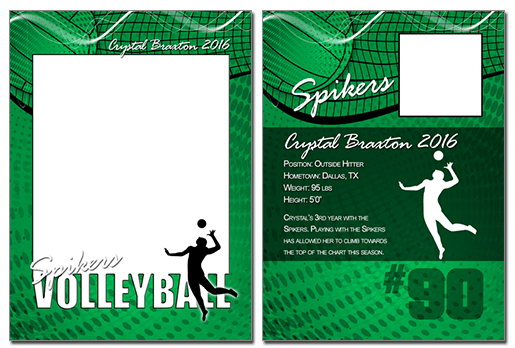 Volleyball Cutout Trading Card Photoshop Amp Elements