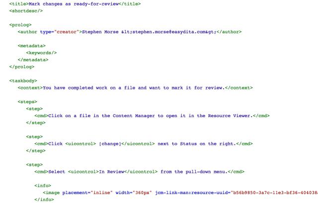 DITA Task Source Code