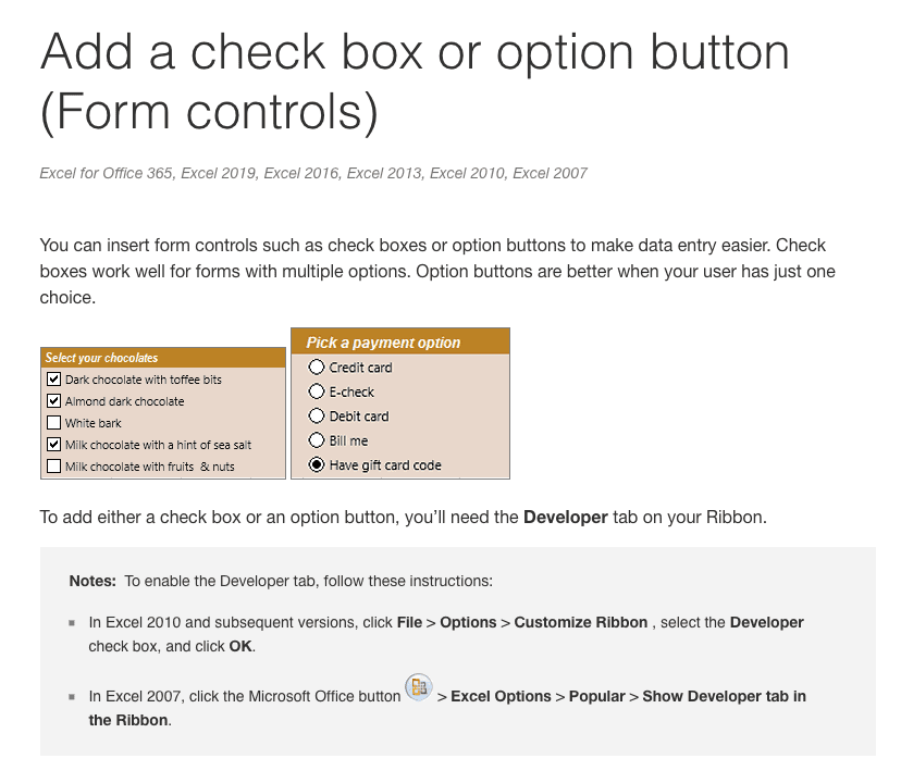 Microsoft Documentation Screenshot for Checkboxes in Excell