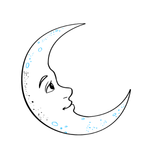 moon crescent draw step easy drawings drawing beginner cresent texture dots things